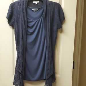 Cabi flowy top and cardigan sweater set